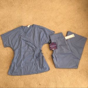 NEW DICKIES ELEMENTS GRAY SM SCRUB SET (TOP&PANT)